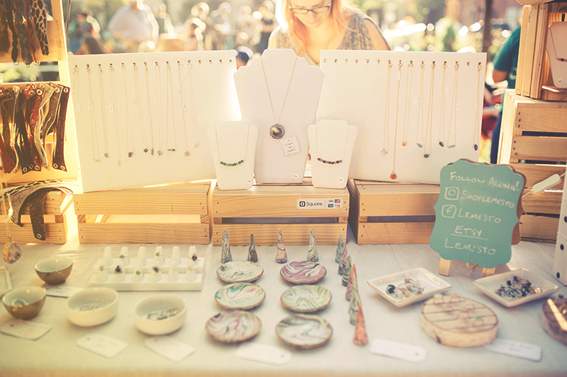 Jewelry stand at craft festival