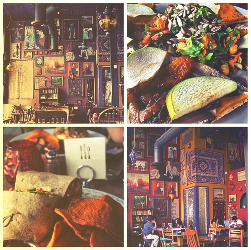 Collage of food options and decor in Gypsy Den, Anaheim.